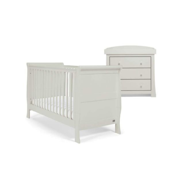 Mamas & Papas Mia Sleigh 2 Piece Furniture Set with Cotbed & Dresser - Cool Grey