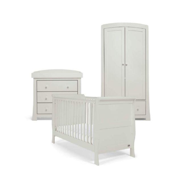 Mamas & Papas Mia Sleigh 3 Piece Nursery Set with Cotbed, Dresser & Wardrobe - Cool Grey