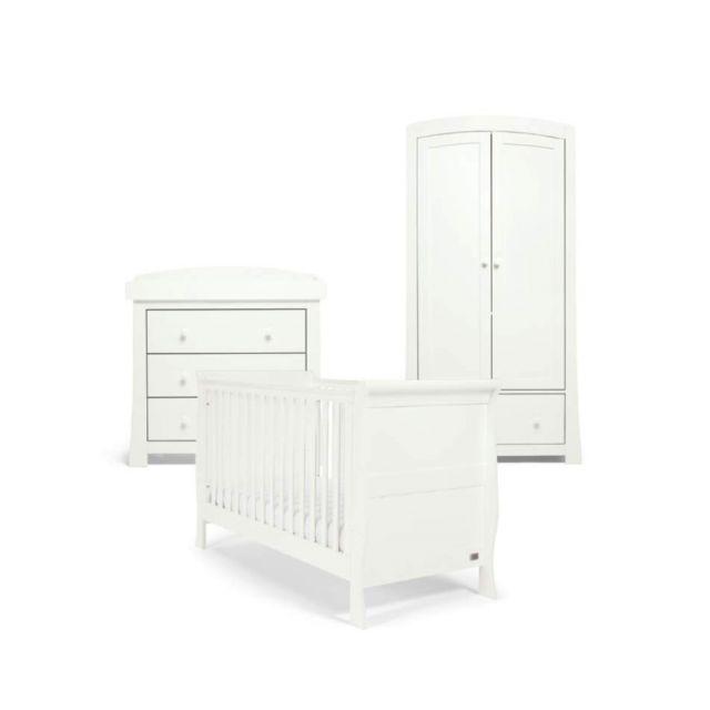 Mamas & Papas Mia Sleigh 3 Piece Nursery Set with Cotbed, Dresser & Wardrobe - White