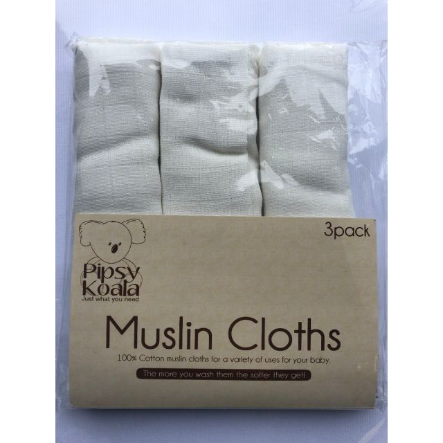 Muslin Cloths 3 Pack -  White
