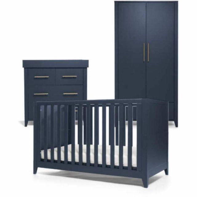 Mamas & Papas Melfi 3 Piece Cotbed Range with Dresser & Wardrobe  - Midnight