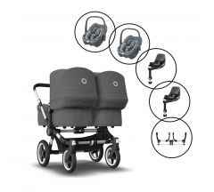 Bugaboo Donkey 3 Twin Travel system with 2 x Maxi -Cosi Pebble 360 car seats &  2x Family 360 bases