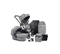 iCandy Orange Pushchair & Carrycot free Changing Bag, Duo Pod, Cupholder, Parasol & Clamp & Sunshde - Light Slate Marl