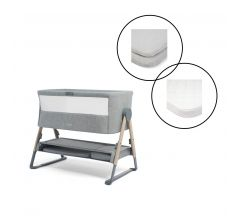 Mamas & Papas Lua Bedside Crib Bundle with Mattress Protector & Fitted Sheets - Stripe / Grey