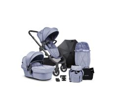 iCandy Orange Pushchair & Carrycot free Changing Bag, Duo Pod, Cupholder, Parasol & Clamp & Sunshde - Mist Blue Marl