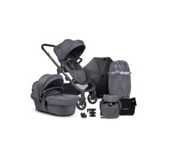 iCandy Orange Pushchair & Carrycot free Changing Bag, Duo Pod, Cupholder, Parasol & Clamp & Sunshde - Dark Slate Marl