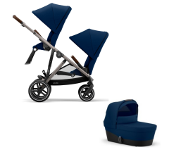 Cybex Gazelle S Duo Bundle - Newborn Toddler - Taupe Frame with Navy Blue Fabrics