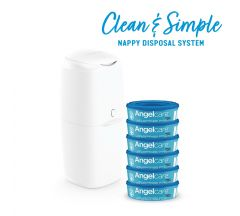 Angelcare Nappy Disposal System - Extra Value Pack ( Bin & 6 Cassettes)