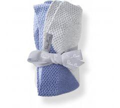 Silver Cross Blue Stripe Knitted Blanket