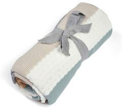 Mamas & Papas Knitted Blanket - Blue & White