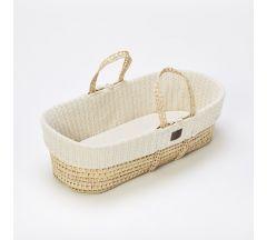 The Little Green Sheep Organic Knitted Moses Basket & Mattress - Linen