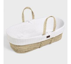 The Little Green Sheep Organic Knitted Moses Basket & Mattress - White