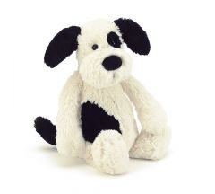 JellyCat Bashful Puppy Black & Cream (Medium)